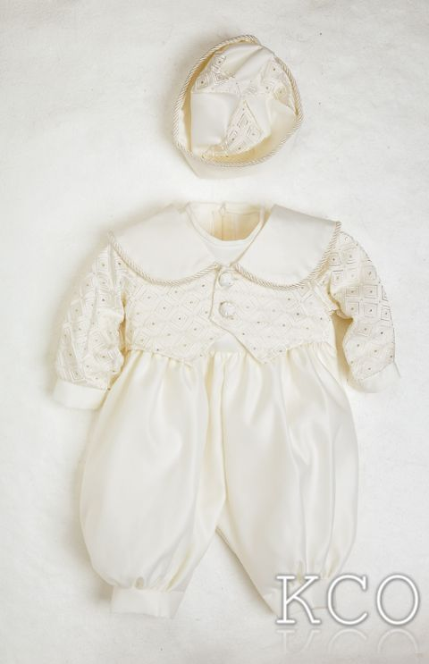 Diamond Brocade Romper Ivory~ Boys Suits
